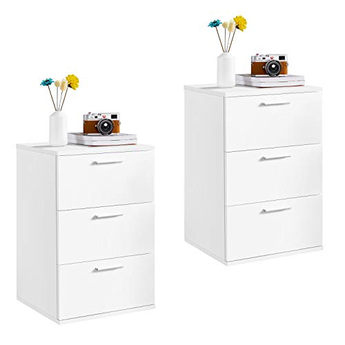 Yaheetech Set of 2 Bedside Table Wooden Nightstand with 3 Drawers White Side Table for Bedroom/Living Room/Hallway