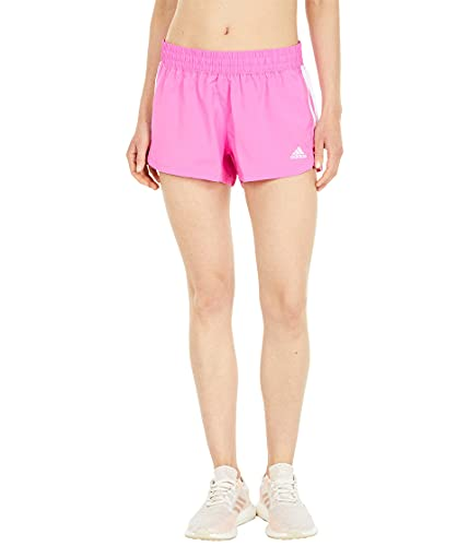 adidas Womens Pacer 3 Stripe Woven Short Screaming Pink/White Small
