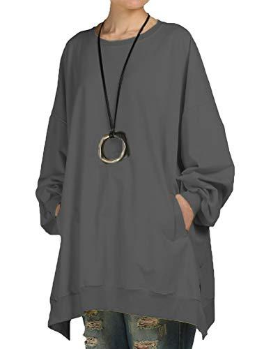 Mallimoda Damen Neu Oversize T-Shirt Langarm Casual Tunika Tops Sweatshirt (XL, Grau)