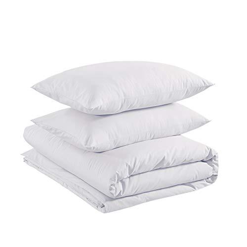Amazon Basics - Juego de funda nórdica 100% algodón - 260 x 220 cm / 50 x 80 cm, Blanco