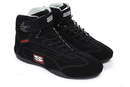 Simpson Racing AD125BK Adrenaline Black 12-1/2 SFI Approved Size Driving Shoes