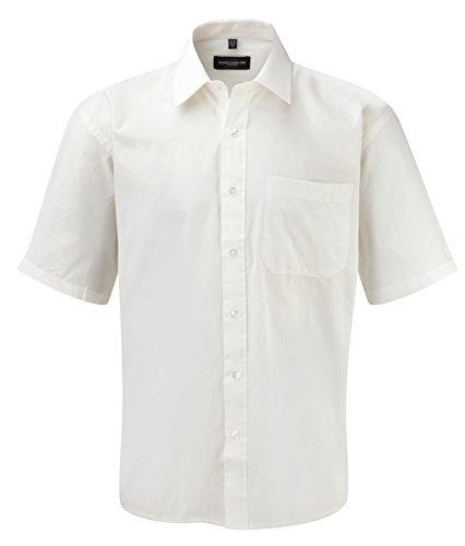 Russell Collection Men's Easycare Poplin Short Sleeve Shirt White 3XL