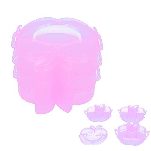 Luroze Caja de Almacenamiento de 3 Niveles, Caja de contenedor de plástico Cajas de Almacenamiento de diseño en Capas Contenedor de Almacenamiento de Juguetes para Almacenamiento de Juguetes(Pink)