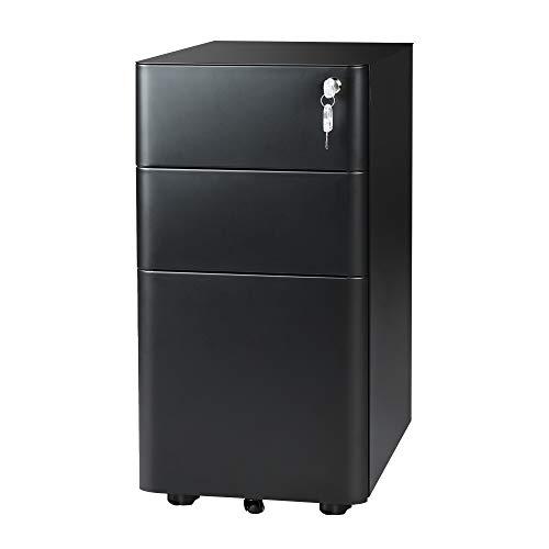 DEVAISE 3-Drawer Slim File Cabinet, Verticall Filing Cabinet, Fully Assembled Except Casters, Black