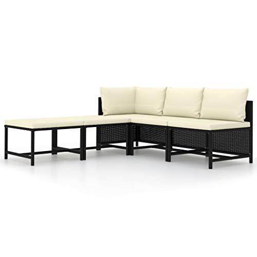 vidaXL Salon de Jardin 5 pcs avec Coussins Canapés de Jardin Meubles de Patio Canapés de Terrasse Meubles d'Extérieur Noir Résine Tressée
