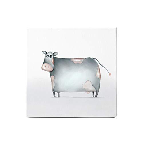 Dori´s Prints Kinderzimmer Bilder mit Bauernhoftiere I Kuh Bild - Wanddeko/Leinwanddruck für Babyzimmer gedruckt auf 100% Bio Baumwolle I Wandbild für die Küche