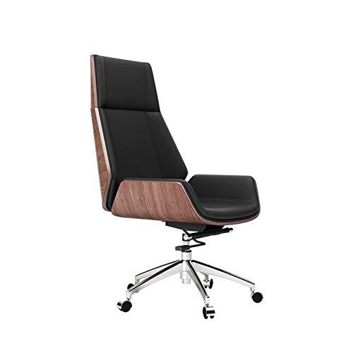 DJDLLZY Silla de oficina ergonómica de respaldo alto para el hogar o la oficina, reclinable, cómodo, soporte lumbar, silla ejecutiva de cuero de PU de alta capacidad (color: color de madera)