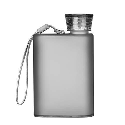 KNDJSPR Botella de Agua memo A5, Frasco portátil, Botellas de Viaje Planas, Caldera Delgada plástica Reutilizable con Cuerda, Copa Minimalista, para Actividades Escolares, 14.3 * 2.5 cm, 200 m