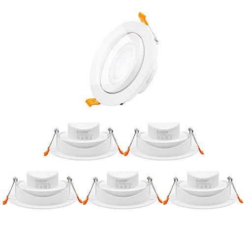4 Zoll 12W LED Einbaustrahler Einbauspots Lampen Schwenkbar für Hohe Schräge Decken Ohne Trafo 230V Kaltweiß 5000K Abstrahlwinkel 40° 120-130MM Lochmaß 6er Pack von Enuotek