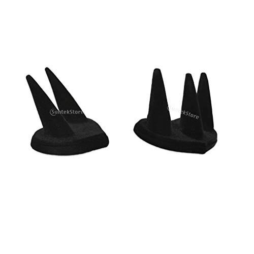 Ringständer für 2/3-Finger, schwarzer Samt, für Schmuck, Ring, Theke, Vitrine, Organizer, für Einzelhändler, Geschäft, Raumdekoration