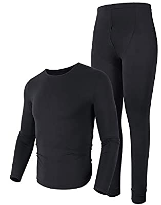 poriff Mens Underwear Thermal Set Mens Big and Tall Thermal Breathable Thermal Underwear Black M