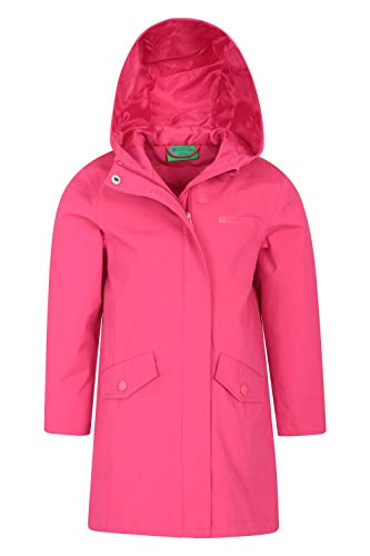 Mountain Warehouse Orbit Longline wasserdichte Kinder-Jacke – Regenjacke mit versiegelten Nähten, 2 Reißverschluss-Fronttaschen, verstellbare Ärmelbündchen – für Outdoor Rosa 11-12 Jahre