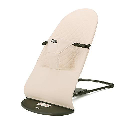 Haioo Silla Mecedora de Bebés Plegable Portátil y Ajustable Hamaca Ligera con Balanceo Natural Tela Suave y Cómoda (Beige)
