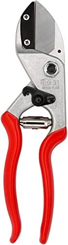 FELCO 11510057 11510057-Podadera Yunque Recto Standard 1 Mano hasta 25 mm 31, Silver/Red, 35x15x5 cm
