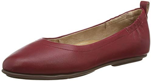 FitFlop Women's Closed Toe Ballet Flats, Red Ss20 Ruby Wine 790, 9