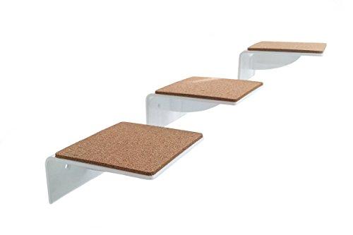 Escalera pequeño para pequeño gatos de trelixx 'Mini+' de plexiglás®/ acrílico blanco, tres pequeño peldaños, 14 x 15 cm para gatos de hasta 15 kg, con almohadillas de corcho