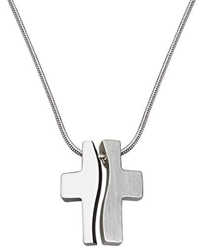 Perlkönig Kette Halskette | Damen Frauen Paare | Matt & Glänzend Silber Farben | Kreuz Anhänger | Gebogen | Nickelabgabefrei