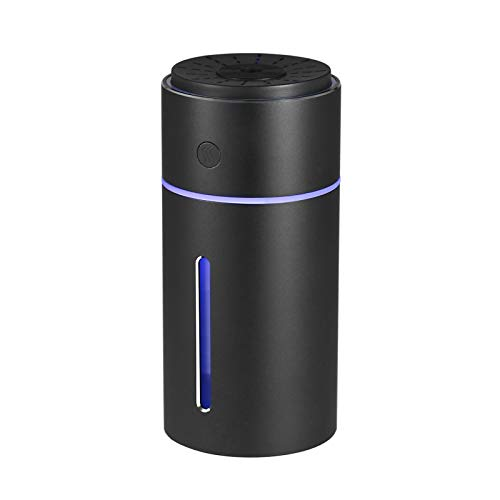 Katerk Car Humidifier Aroma Diffuser Aluminum Alloy Car Air Refresher Purifier Freshener Vehicle-Mounted With Colorful Night Light Dry Burning-Resistant Protection For Home, Office, Bedroom,Car, Black