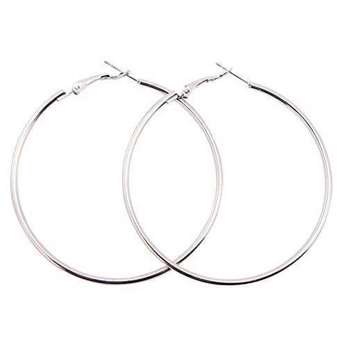 yujiashanbgmao 1 Pairs Stainless Steel Gold Silver Plated Hoop Earrings for Women Girls (40.50mm) (Silver, 50)