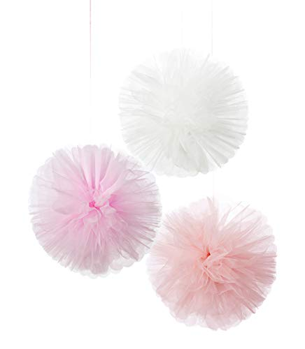 Talking Tables We Heart Pink Tulle Hanging Pom Decorations – Pack of 3, Fabric, PKPOMDEC, 25x25x25 cm