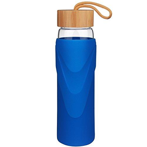 Justfwater Borosilicat Wide Mouth Trinkflasche Glas Wasserflasche mit Silikonhülle und Bambus Deckel 700ml / 1000 ml