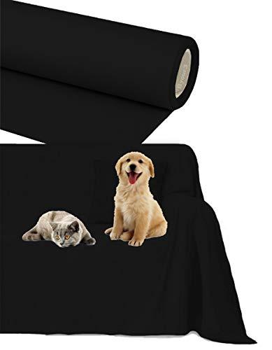 Byour3 Funda de sofá Impermeable - protección para Sofás por Mascotas Niños Protector hidrófugo en Algodon Antimanchas Antideslizante para Pelo Gatos Perros (Negro Intenso, 3/4 plazas 400x300cm)