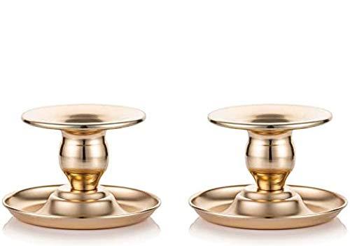 Queta 2pcs Portavelas Candelabro Metal Soporte para Candelas Platos para Vela de Mesa para Decoración de Hogar Dormitorio Comedor Salón Boda Fiesta Meditación (Tipo-1)