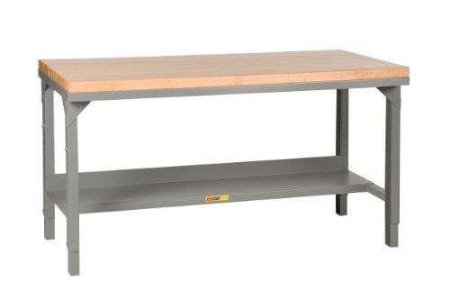 """Little Giant WSJ2-2448-AH Welded Steel Workbench, Butcher Block Top, 1 Half-Shelf, 3000 lb. Load Capacity, 28-3/4"""" - 42-3/4"""" Adjustable Height x 48"""" x 24"""", Gray"""