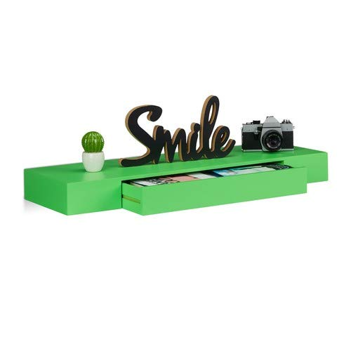 Relaxdays wandrek met lade, hangend, design, 25 cm diep, woonkamer, wandlade, wandboard, groen