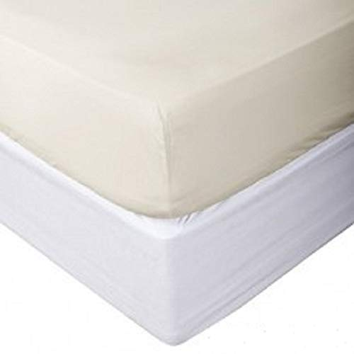 """Acrilan Bedding Premium Quality 1 Piece Fitted Sheet (Bottom Sheet Only) Extra Long Fit Upto 15"""" inches Deep Pocket 600 Thread Count 100% Pure Egyptian Cotton Solid Pattern California King Ivory"""