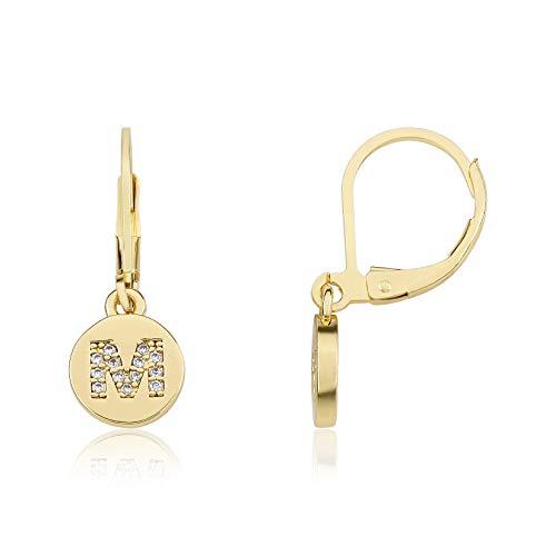 Little Miss Twin Stars 14K Gold Plated Earring Initial Alphabet Letter