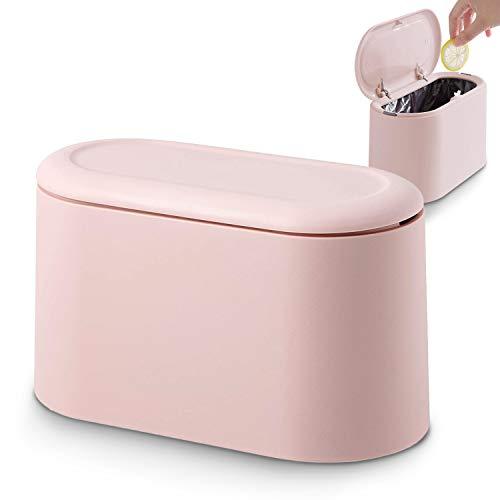 JEEZAO Tischmülleimer mit Aufpoppen Deckel,Mini Plastik TischMülltonne,Schreibtisch Papierkorb für Küche Badezimmer Büro Schreibtisch (Rosa)