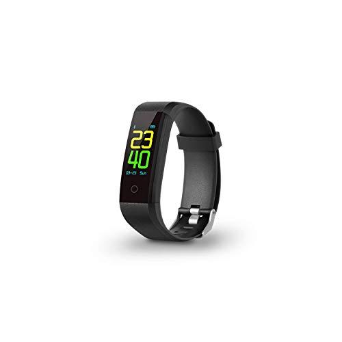 SPC Smartee Go - Pulsera Fitness (A Prueba De Agua IP67, Multideporte, Notificaciones, Podómetro, Pulsómetro Y Monitor De Sueño) – Color Negro