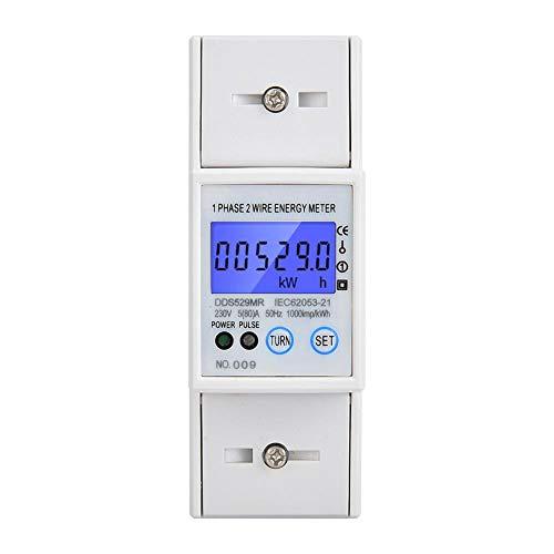 Medidor eléctrico, medidor de energía eléctrica monofásico DDS529MR Pantalla digital LCD 230V...