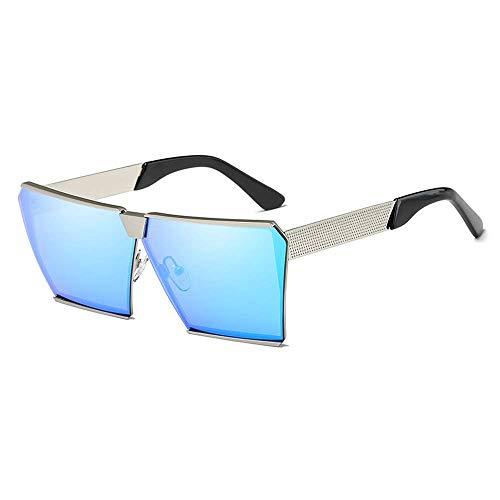SSM Gafas de Sol Moda Gafas de Sol Polarizadas Plaza Plata Gran M Unisex Uv400 Protección Clásico/Azul