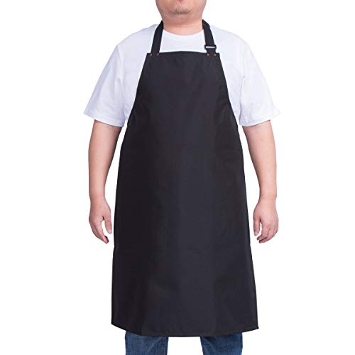 ALIPOBO Waterproof Apron for Men and Women, Durable Heavy Duty Extra Long Adjustable Bib Apron for Kitchen Cooking, Dish Washing, Butcher, Dog Grooming, Lab Work, Black