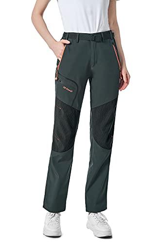 shine future Damen Wanderhose Outdoorhose Wasserdicht Trekkinghose Winddicht funktional mit Gürtel Zip Off Funktionshose (Gray, X-Large)