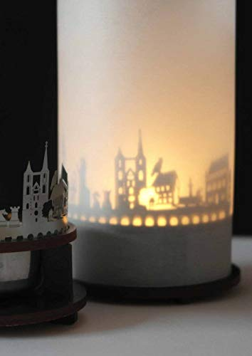 13gramm Aachen-Skyline Windlicht Schattenspiel Premium Geschenk-Box Souvenir, inkl. Kerzenhalter, Kerze, Projektionsschirm und Teelicht