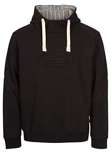 Elkline Herren Hoodie Advanture Kapuzenpulli Sweatshirt mit VW T1 Bulli Stick, Größe:S, Farbe:Black