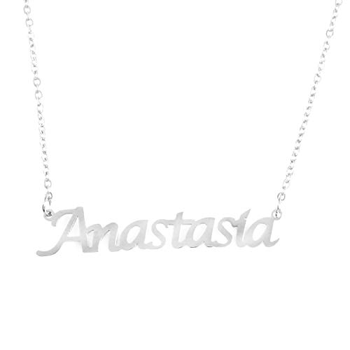 Kigu Anastasia Personalized Name Necklace Adjustable Chain - Silver Tone Packaging