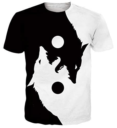 Spreadhoodie Hombre T-Shirt Modelo 3D Lobo Impresos de Dibujos Animados Casual Camiseta de Manga Corta Tees Blanco Negro XL