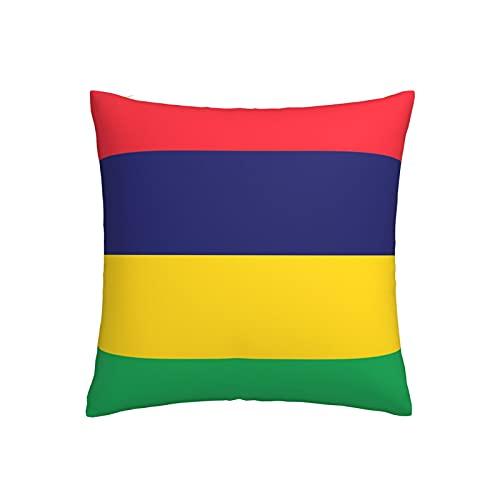 Kissenbezug mit Flagge von Mauritius, quadratisch, dekorativer Kissenbezug für Sofa, Couch, Zuhause, Schlafzimmer, drinnen & draußen, niedlicher Kissenbezug 45,7 x 45,7 cm