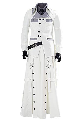 Final Fantasy 7 Rufus Shinra Cosplay Kostüm Herren FF7 Remake Kostüm Komplettes Set Gr. X-Large, weiß
