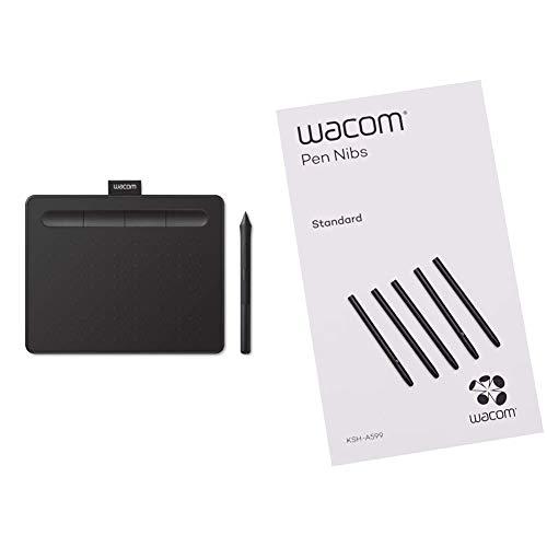 Wacom Intuos S Tableta Gráfica – Tableta Gráfica Portátil para Pintar, Dibujar + ACK-20001 Punta de bolígrafo Digital (Pack de 5 Unidades)