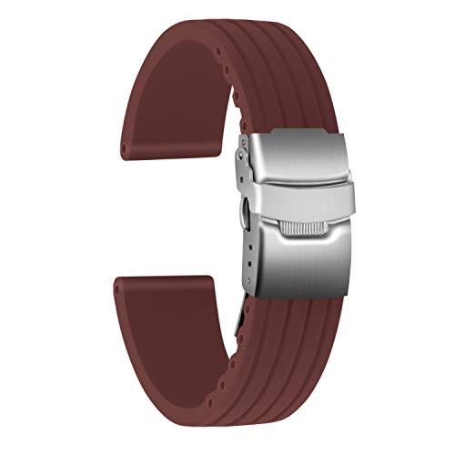 Ullchro Correa Reloj Calidad Alta Recambios Correa Relojes Caucho Stripe Pattern - 16mm, 18mm, 20mm, 22mm, 24mm Silicona Correa Reloj con Acero Inoxidable Hebilla desplegable (22mm, marrón)
