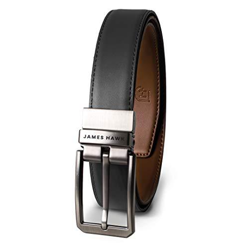 JAMES HAWK Business Belt Anzug Echtleder Wendegürtel in Schwarz und Braun   Eleganter Ledergürtel Beidseitig für Herren (Schwarz/Hellbraun)