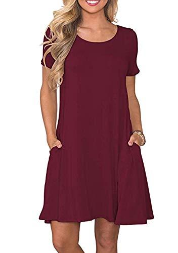 OMZIN Damen Sommerkleid Kurzarm Baumwolle Sommerkleider Basic Elegant Casual Kleid Weinrot M