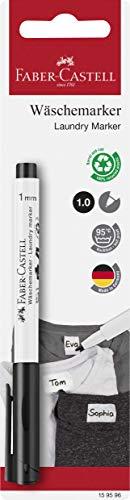 Faber-Castell 159596 - Textilmarker, 1 mm Rundspitze, bis zu 95°C waschbar, Fixierung selbständig nach 24 Sunden oder nach dem Bügeln, schwarz, 1 Stück