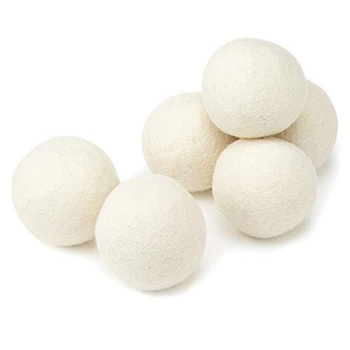 Lezed 6 stuks drogerballen voor wasdroger, viltballen van schapenwol, drogerballen voor wasdroger, wolballen natuurlijk alternatief voor wasverzachter voor sneller drogen en zachter wassen