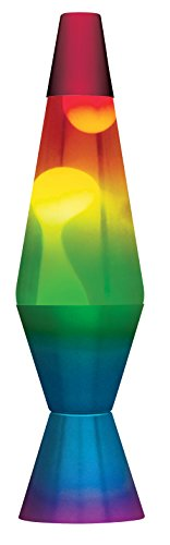 Lamp Lava 2179 14.5-Inch, with White Wax, Clear Liquid, Tri-Colored Globe, Hand Painted Base Rainbow